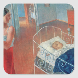 Sova Barn, 1924 Fyrkantigt Klistermärke