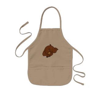 sova björntecknaden barnförkläde