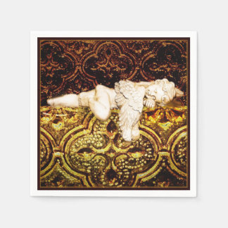 Sova cheruben på guld- exponeringsglas papper servetter