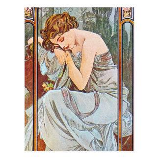 Sova den härliga kvinnan vykort