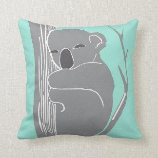 Sova den Koalagrå färg och minten kudde