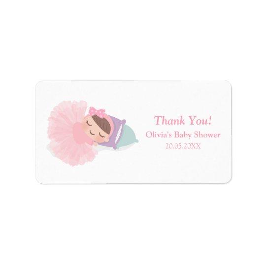 Sova etiketter för dusch för BallerinaTutuflicka Adressetikett