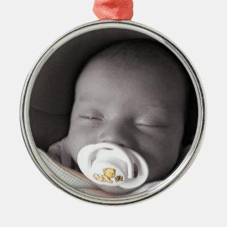 Sova för baby julgransprydnad metall