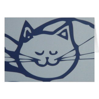 Sova för katt för blått lyckligt hälsningskort