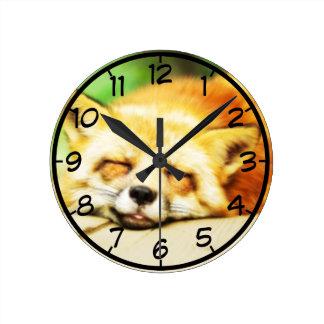 Sova för räv för sömn gulligt rund klocka