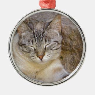 Sova katten julgransprydnad metall
