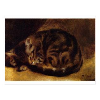 Sova katten vid Pierre-Auguste Renoir Vykort