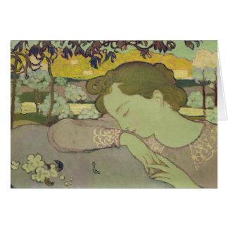 Sova kvinnan, 1892 hälsningskort