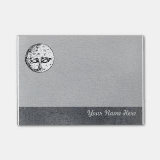 Sova måneansikte på grå färg posta det noterar post-it lappar