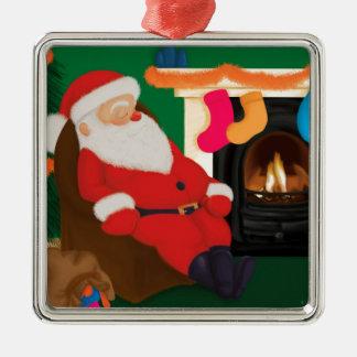 Sova Santa Silverfärgad Fyrkantigt Julgransprydnad
