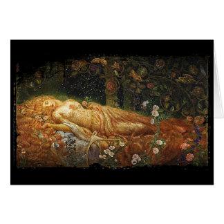 Sova skönhet bredvid en harpa hälsningskort