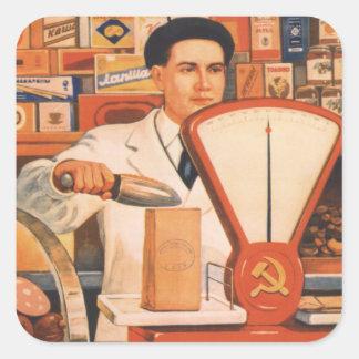 Sovjetisk handel fyrkantigt klistermärke