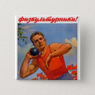 Sovjetisk idrotts- propaganda standard kanpp fyrkantig 5.1 cm