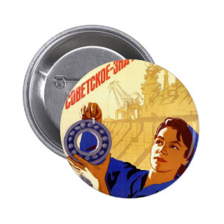 Sovjetisk rymdprogrampropagandaaffisch knappar med nål