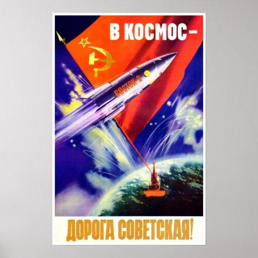 Sovjetisk utrymmepropagandaaffisch affisch