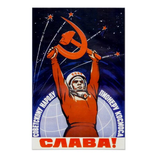 Sovjetisk utrymmepropagandaaffisch posters