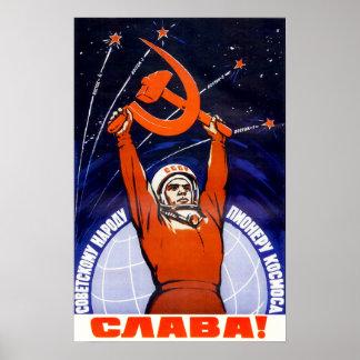 Sovjetisk utrymmepropagandaaffisch poster