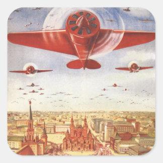 Sovjetiskt flyg fyrkantigt klistermärke
