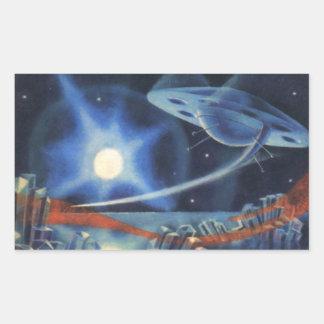 Spaceship för vintagescience fictionblått över rektangulärt klistermärke