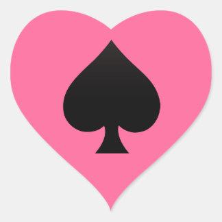 Spade - kostym av kortsymbolen hjärtformat klistermärke