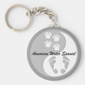 spaniel för vatten för yinyang amerikan rund nyckelring