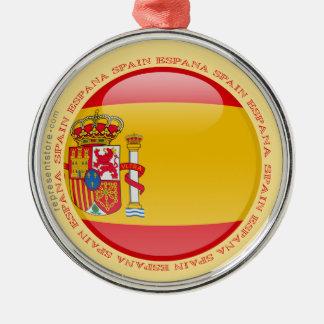 Spanien bubblar flagga rund silverfärgad julgransprydnad