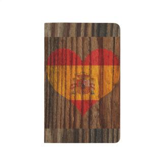 Spanien flaggahjärta på det Wood temat Anteckningsbok
