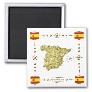 Spanien karta + Flaggormagnet Kylskåps Magneter