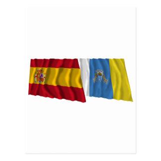 Spanien och kanariefågelöar som vinkar flaggor vykort