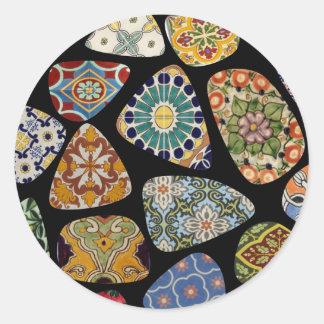 Spanjoren & mexikanen belägger med tegel mosaiken runt klistermärke