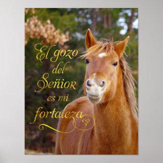 Spansk bibelVerse som ler hästaffischen Poster