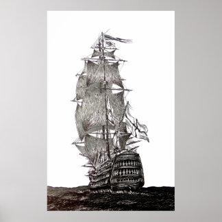 Spansk gallion skrivar och bläckteckningen i svart poster