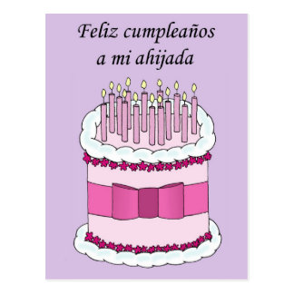 Spansk Goddaughtergrattis på födelsedagen Vykort