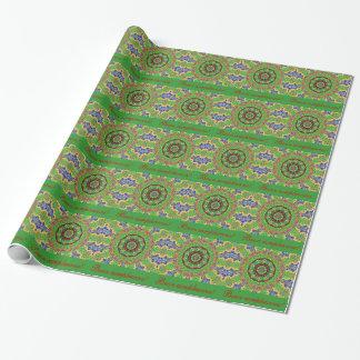 Spansk Mandala för födelsedaggröntblått som slår Presentpapper