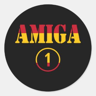 Spanska flickavänner: Amiga Numero Uno Runt Klistermärke