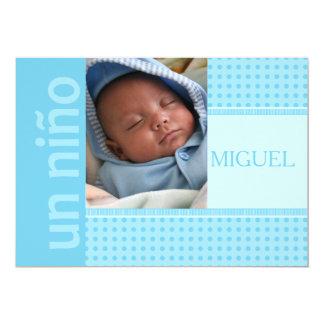 spanskt pojkefödelsemeddelande 12,7 x 17,8 cm inbjudningskort