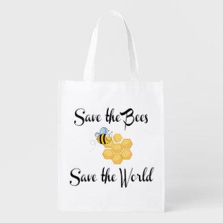 Spara bina sparar världen återanvändbar påse