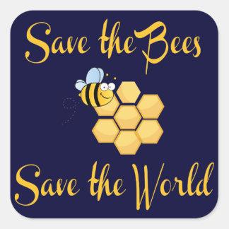 Spara bina sparar världen fyrkantigt klistermärke