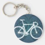 Spåra cykeln - blåtttatueringstil nyckel ring