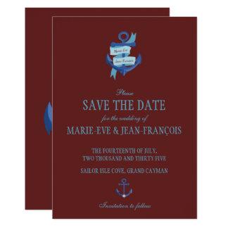 Spara datera som nautiska blått ankrar 12,7 x 17,8 cm inbjudningskort