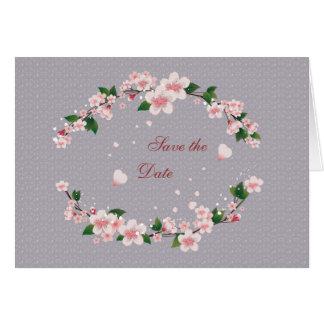 Spara daterakortet - körsbärsröd blommar hälsningskort
