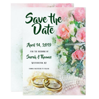 Spara daterarosa ros med guld- bröllopmusikband 12,7 x 17,8 cm inbjudningskort