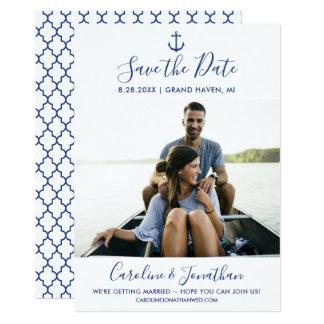 Spara de nautiska blåtten för daterafotoklassikern 12,7 x 17,8 cm inbjudningskort