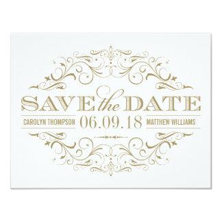 Spara den | antika guld- och vitkrusidullen för 10,8 x 14 cm inbjudningskort