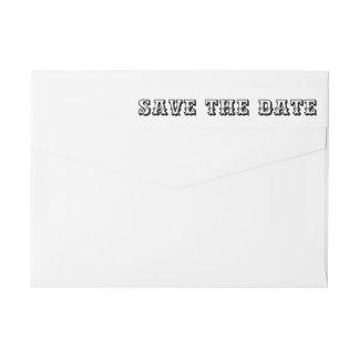 Spara den datera sätta en klocka på typografin etikettband