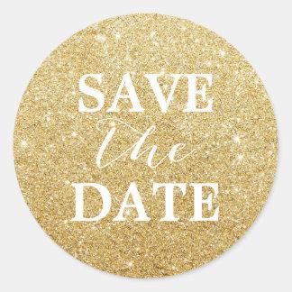 Spara den moderna guld- glitterelegant bröllop för runt klistermärke
