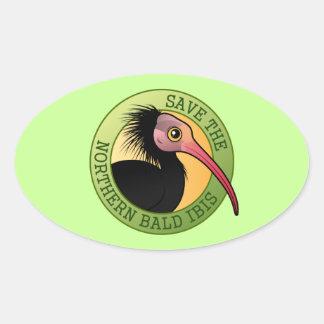Spara den nordliga skalliga Ibisen Ovalt Klistermärke
