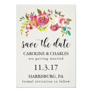 Spara den rosa vattenfärgen blom- lantliga Boho 12,7 X 17,8 Cm Inbjudningskort