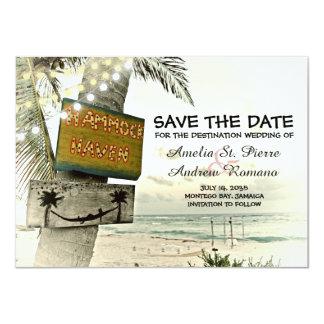 Spara destinationen för stranden för dateravintage 11,4 x 15,9 cm inbjudningskort