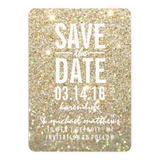 Spara det Fab guld- glitter för datera | 12,7 X 17,8 Cm Inbjudningskort